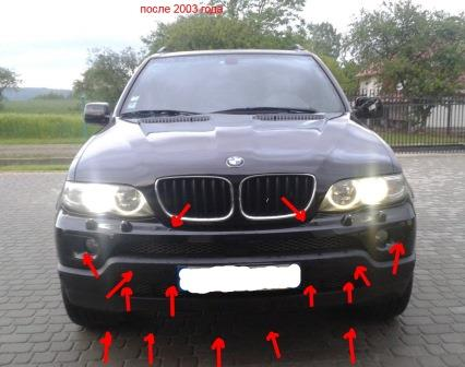 mounting points for the front bumper BMW X5 E53
