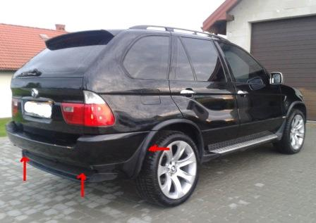 mounting points for the rear bumper BMW X5 E53