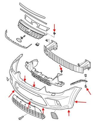 the scheme of mounting front bumper Ford C-Max 1 (Focus)