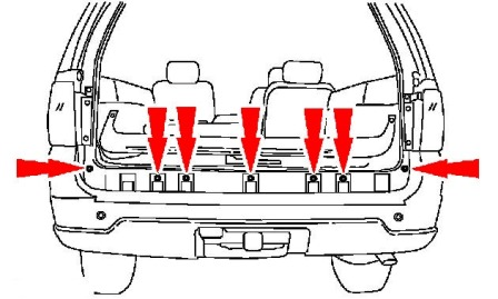 scheme of fastening of a back bumper Ford Expedition II (2003 - 2006)