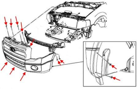 the scheme of mounting front bumper Ford Expedition III (after 2007)