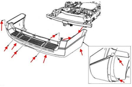scheme of fastening of a back bumper Ford Expedition III (after 2007)