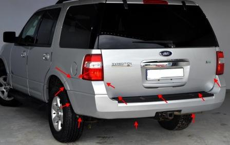 the attachment of the rear bumper of the Ford Expedition III (after 2007)