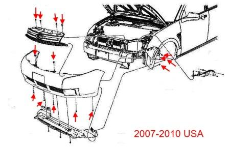 the scheme of fastening of the front bumper the Ford Focus 2 (2007-2010)