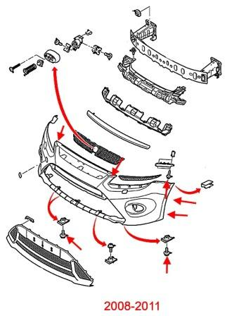 the scheme of fastening of the front bumper the Ford Focus 2 (2008-2011)