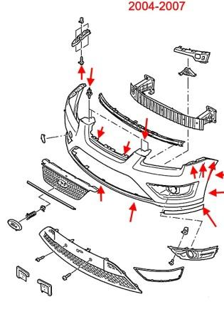 the scheme of fastening of the front bumper the Ford Focus 2 (2004-2007)