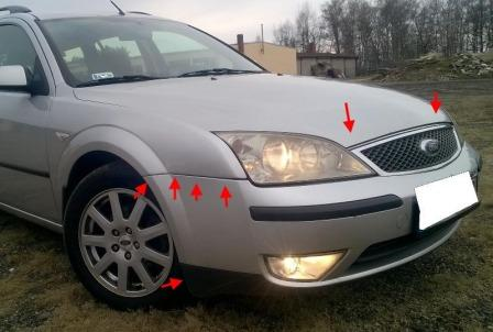 mounting locations for front bumper Ford Mondeo Mk3 (2000-2007)