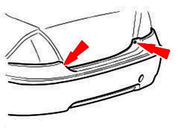 scheme of fastening of a back bumper Ford Mondeo Mk3 (2000-2007)