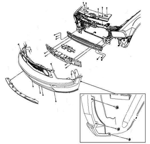 the scheme of mounting front bumper Ford Mustang (2005-2014)