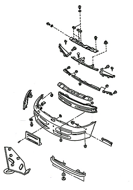 the scheme of mounting front bumper Ford Probe (1993 to 1998)