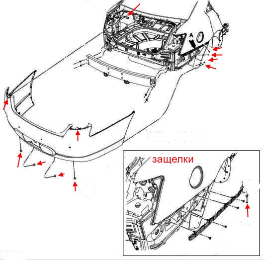 the scheme of fastening the rear bumper of the Ford Taurus (2010)