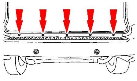 diagram of rear bumper Ford Windstar
