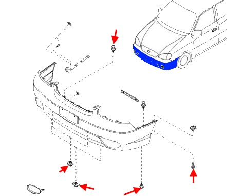 the scheme of fastening of the front bumper KIA Carens (2000-2002)