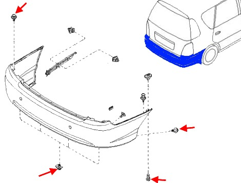 the scheme of fastening of the rear bumper KIA Carens (2000-2002)