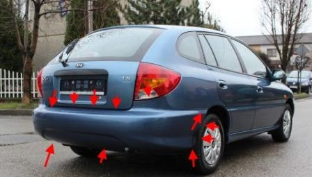 the attachment of the rear bumper KIA Rio I (2000-2005)