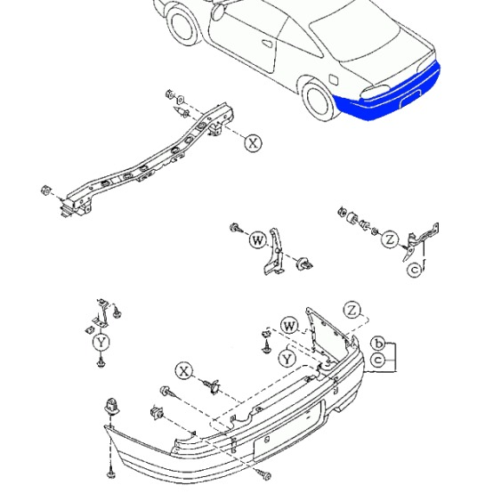 diagram of rear bumper MAZDA 626 (1992-1997)