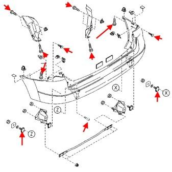 the scheme of fastening the rear bumper of the MAZDA PREMACY