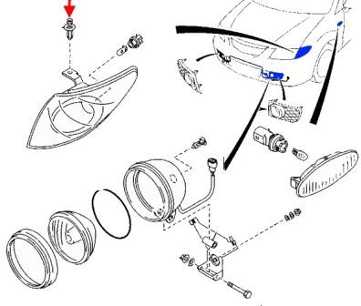 the scheme of fastening of the turn signal MAZDA PREMACY