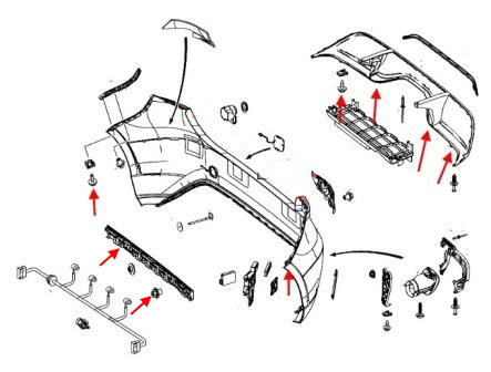 The scheme of fastening the rear bumper of the Mercedes A-Class W176