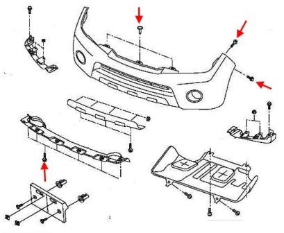 the scheme of fastening of the front bumper Nissan Pathfinder (2005-2014)
