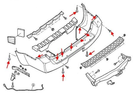 the scheme of fastening of the rear bumper Nissan Pathfinder (2005-2014)
