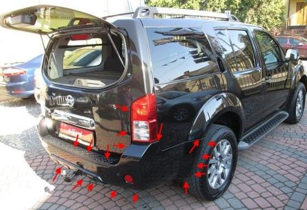 the attachment of the rear bumper Nissan Pathfinder (2005-2014)