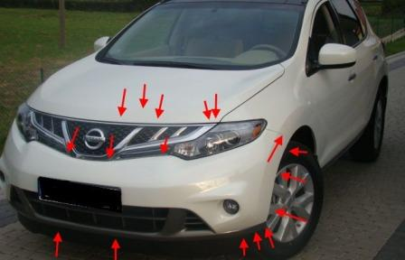 the attachment of the front bumper Nissan Murano Z51 (after 2008)