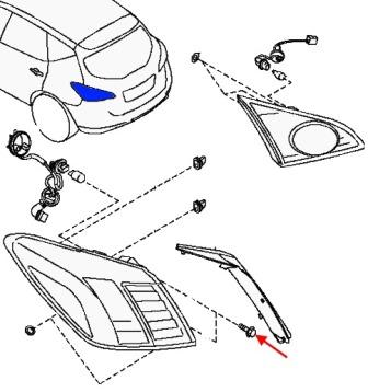 scheme of fastening of tail light Nissan Murano Z51 (after 2008)