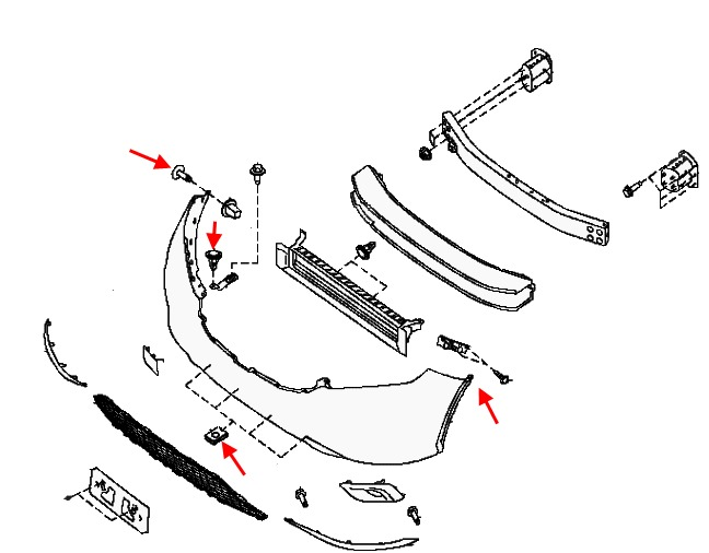 the scheme of fastening of a forward bumper Nissan Murano Z52 (after 2014)