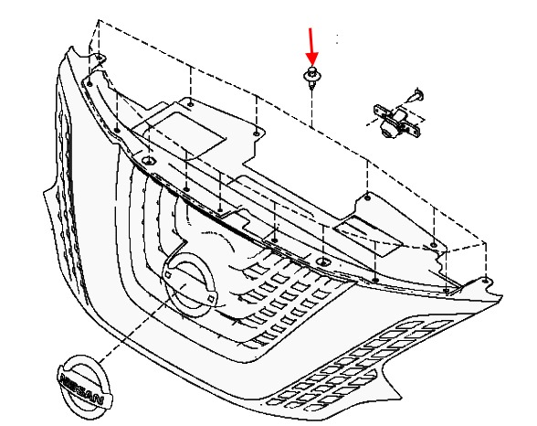 scheme of fastening of the radiator grille Nissan Murano Z52 (after 2014)
