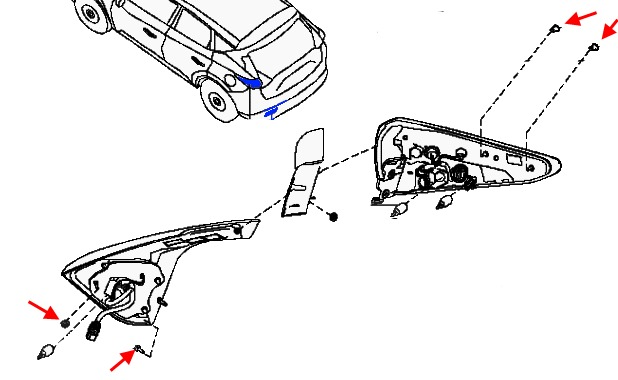 scheme of fastening of tail light Nissan Murano Z52 (after 2014)