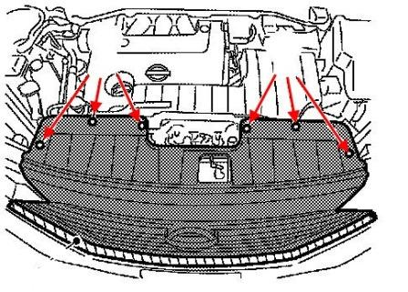scheme of fastening of the radiator grille Nissan Quest E52 (after 2010)