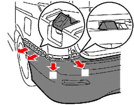 the scheme of fastening of the rear bumper Nissan Quest E52 (after 2010)