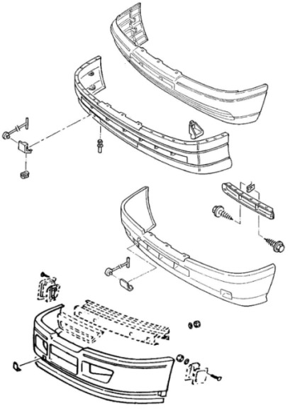 the scheme of fastening of the front bumper Opel OMEGA A (1987-1993)