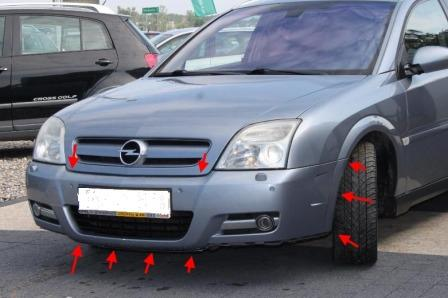 the attachment of the front bumper Opel SIGNUM (2003-2008)