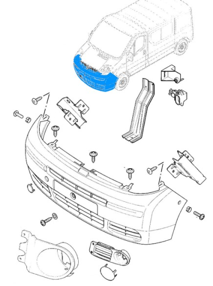 the scheme of fastening of the front bumper Opel Vivaro