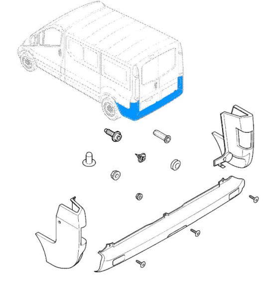 diagram of rear bumper Opel Vivaro