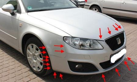 mounting locations for front bumper SEAT Exeo