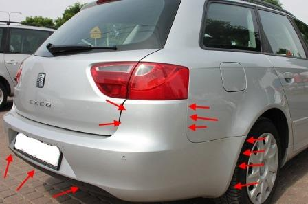 the attachment of the rear bumper SEAT Exeo