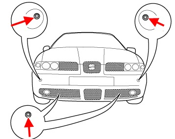 the scheme of fastening of the front bumper SEAT Leon I (1999-2005 year)