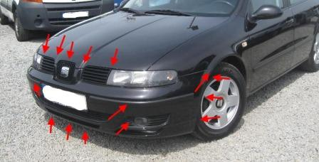 mounting locations for front bumper SEAT Leon I (1999-2005 year)
