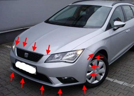 mounting locations for front bumper SEAT Leon III (after 2013)