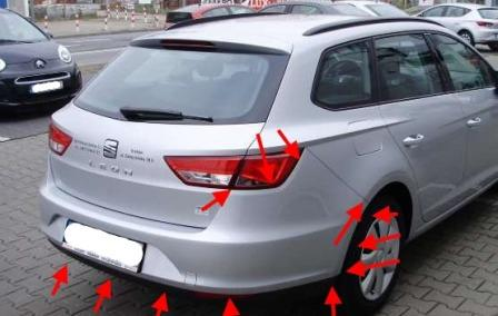 the attachment of the rear bumper SEAT Leon III (after 2013)