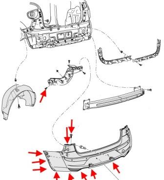 diagram of rear bumper SEAT Toledo III (2004-2009 year)