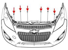 схема крепления переднего бампера Chevrolet Spark (Matiz)/ Daewoo Matiz (после 2010 года)