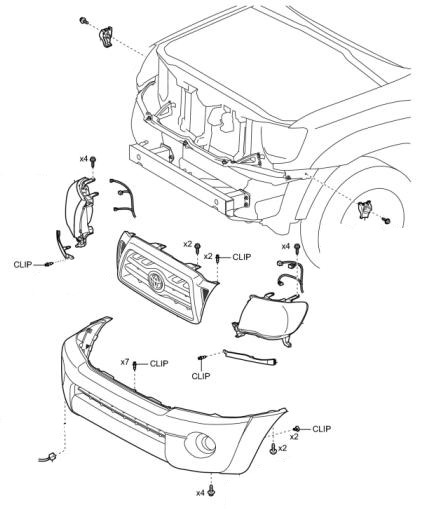 the scheme of fastening of the front bumper Toyota Tacoma