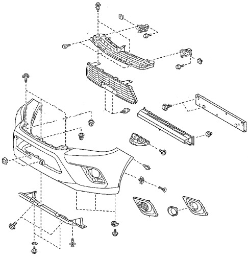 the scheme of fastening of the front bumper Toyota Hilux (after 2015)