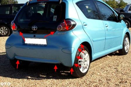 the attachment of the rear bumper of the Toyota Aygo