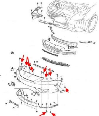 the scheme of fastening of the front bumper Toyota Celica (1999-2006)