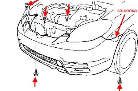 the scheme of fastening of the front bumper Toyota Matrix (2003-2008)
